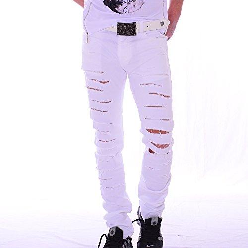 Redbridge by Cipo & Baxx Herren WHITE Jeans Destroyed Sensation Weiß Risse M4018 (30/32, Weiß)