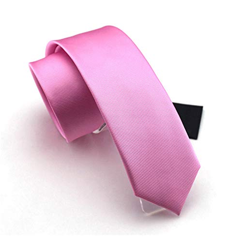 Solid Pink Color Slim Ties Pure Color Necktie Mens Ties 2.4'' (6cm)+ Gift ()
