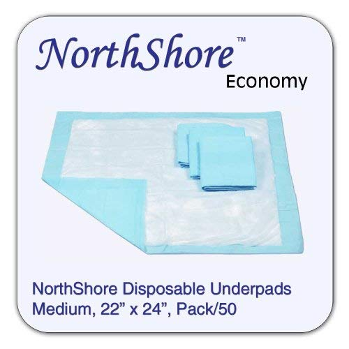 NorthShore Economy Blue Disposable Underpads (Chux) (Pack/50, Blue, 22x24, 11 oz.) ()
