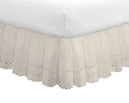 "Eyelet Ruffled Bedskirt – Ruffled Bedding with Gathered Styling –14"" Drop, Twin, Bone (Embroidered Eyelet Skirt)"