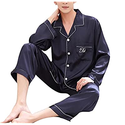 Cheap Oberora-Men Silk Satin Sleepwear Long Sleeve Button Down 2 Pieces Pajama Sets