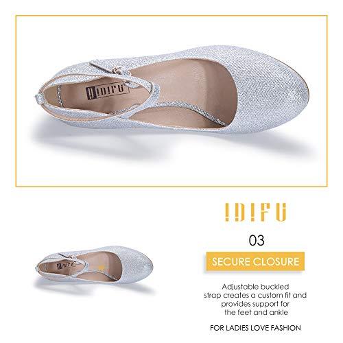 IDIFU Women's Tracy Crisscross Strap Platform High Heels Pumps Elegant Round Toe Prom Party Shoes