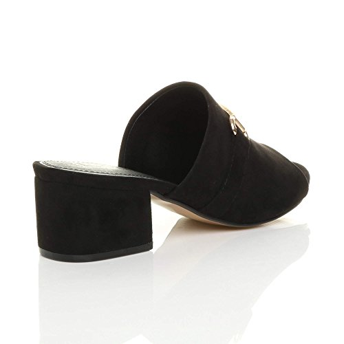 Flops Back Heel Ladies mid Sandals Open flip Mules Size Block Buckle Ajvani Black Womens IU05qw0P