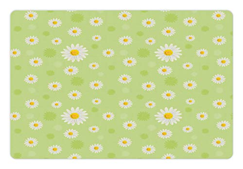Ambesonne Yellow and Green Pet Mat for Food and Water, Kind and Lovely Springtime Theme with Vivid Daisies, Rectangle Non-Slip Rubber Mat for Dogs and Cats, Pistachio Green Marigold White