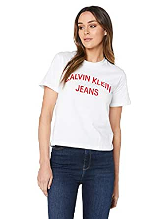Calvin Klein Jeans Women's Institutional Curved Logo Straight T Shirt, Bright White, S