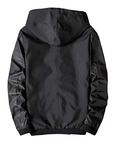 Jackets Energy Fit Hood Autumn Mens Spring Windbreaker Zipper Casual Black Outwear Silm Zw1BvZq