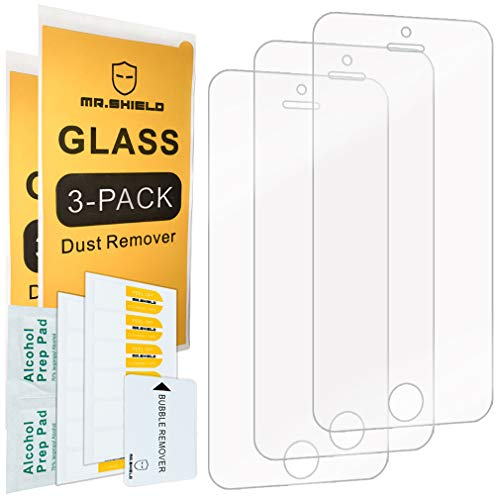 Mr.Shield-[3-Pack for iPhone SE/iPhone 5/5S / iPhone 5C [Tempered Glass] Screen Protector with Lifetime Replacement (Iphone 5 Screen Replacement Only)