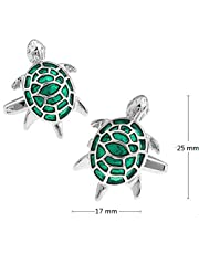 Men's French shirt cute tortoise metal green cufflinks CZ31