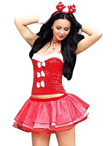 Esquki Women Christmas Costume Sexy Ms. Santa Party Outfit with Hat (Adorable Reindeer)