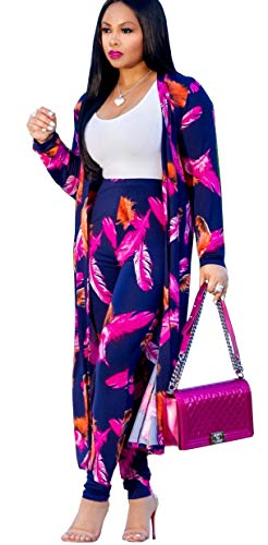 Playworld Womens Long Sleeve Jacket Open Front Cardigan + Pants 2 Piece Outfit Purple XL
