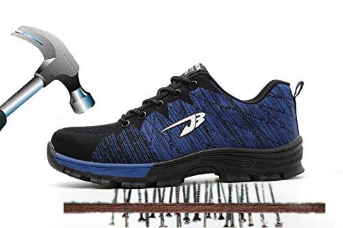 Axcer S3 Scarpe da Lavoro per Uomo e Donna Comodissime Traspiranti Scarpe Antinfortunistiche con Punta in Acciaio Calzature da Cantiere Stivali da Escursionismo Scarpe Sneaker Sportive di Sicurezza Blu+nero