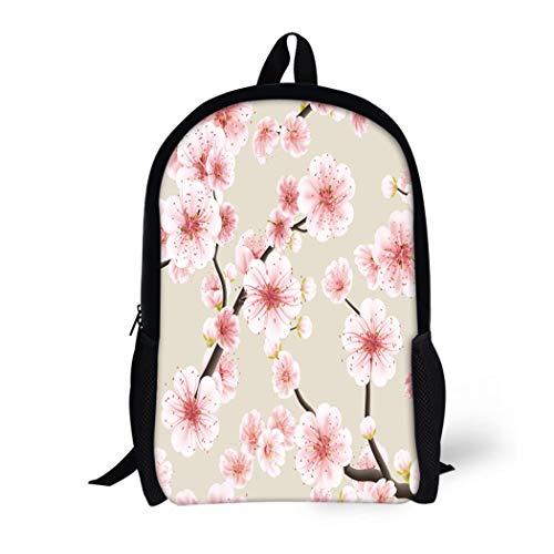 (Pinbeam Backpack Travel Daypack Pattern of Pink Sakura Blossom Japanese Flowering Cherry Waterproof School Bag)