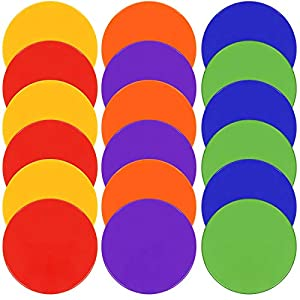 TuXHui Rubber Spot Markers 9 Inch 10 Inch Set of 18 Non Slip Flat Cones Floor Spots Agility Dots for PE, School Classroom Activities, Soccer Football Basketball Sports Speed Agility Training