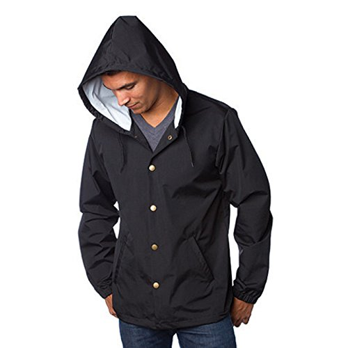 Independent Trading Co. Men's Windbreaker Jacket with Hood, Black, Large