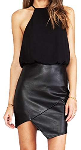 erdbeerloft - Damen schulterfreies Spitze Leder-Imitat-Kleid Dress im Neckholder Style, 36-38, Schwarz