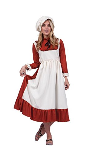 RG Costumes Women's Size Colonial Peasant Lady Rosanna-Adult Rust Dress.XL, Brown/Ivory, Plus 16-20