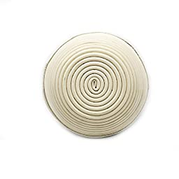 BakeWarePlus 9 Inch Round Banneton Bread Proofing Basket and Bakers Couche Proofing Flax Cloth 2 Pcs Set