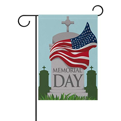 Dongingp Garden Flag Yard 12x18 in Happy Memorial Day in Dependence Day Headstone in Graveyard with Epitaph and American Tw in SidesAnniversary Decor -