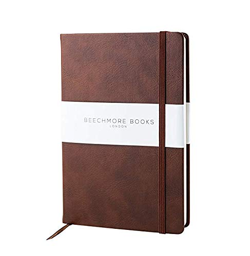 - Premium British Notebook/Notepad - Beechmore Books A5 Notebook, 120 gsm cream paper, Vegan Leather, Hardcover Journal in Gift Box (Chestnut Brown, Grid)