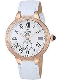 by Gevril Women's Astor Stainless Steel Swiss Quartz Watch with Leather Calfskin Strap, White, 18 (Model: 9104.2)