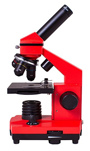 Levenhuk Rainbow 2L Plus Orange Metal Student Microscope (64-640x) with Experiment Kit for Indoor and Outdoor Use
