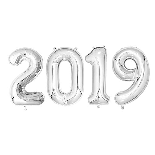 40inch Number 2019 Foil Balloons Graduation Balloons New Year Festival Party Decorations Graduation Event Anniversary Party Supplies (Silver) -