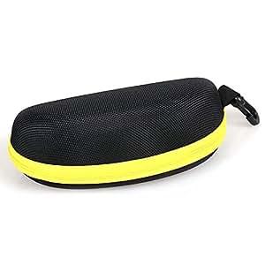 qingsun Gafas de sol Gafas funda Zipper Bag rígida color cremallera Caja de EVA Espejo Buzón negro de gancho amarillo talla única