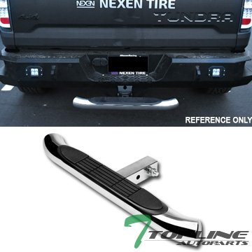 Topline Autopart Universal 3 Inch Chrome Trailer Tow Mount Rear Hitch Step Bar Bumper Guard For 2″ x 2″ Towing Receiver Tube