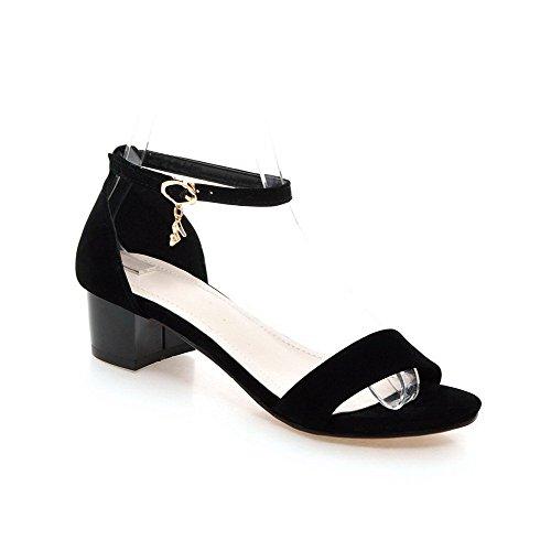 AllhqFashion Women's Kitten Heels Solid Buckle Open Toe Sandals Black