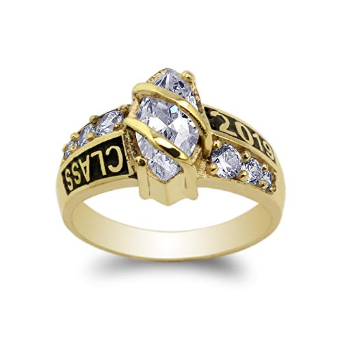10K Yellow Gold Class of 2019 1.25ct Marquise CZ School Graduation Ring Size 6