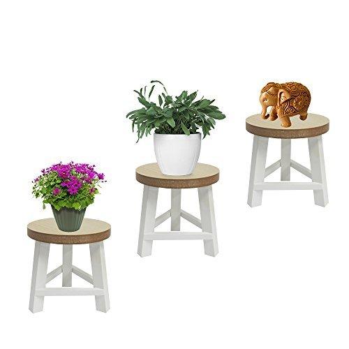 DRULINE Holzhocker THIRD Sitzhocker Dekohocker Blumenhocker Holzschemel Holz Dreibein (5 Stück, Weiß)