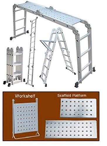 Gadget-Wagon Foldable and Adjustable Multipurpose Aluminium 4x3 Steps Ladder (Silver)