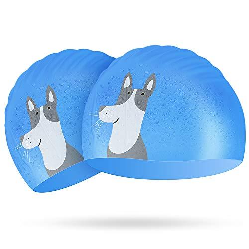 (Kids Swim Cap 2 Pack, Silicone Swimming Cap Blue for Boys - Elastic Waterproof Swim Hat/Anti-Fog Crystal Clear Swim Goggles for Toddler Age 3-10)