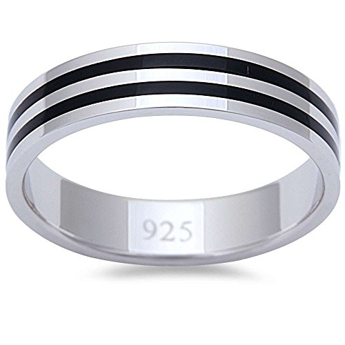 - Men's 2 Stripe Simulated Black Onyx Fashion Engagement 5mm Band .925 Sterling Silver Ring Size 9
