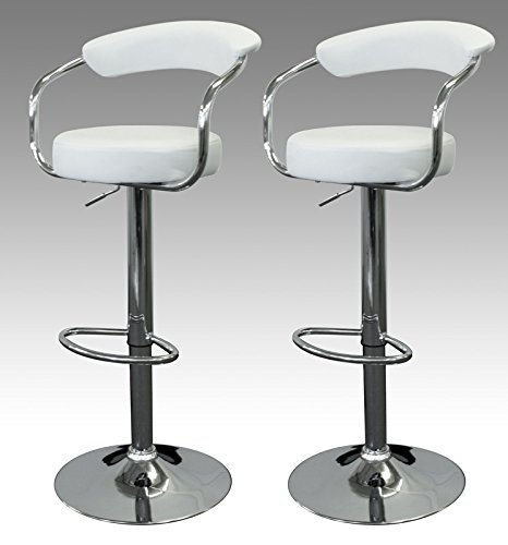 Set Of 2 White & Chrome Finish Air Lift Adjustable Swivel Bar Stools For Sale