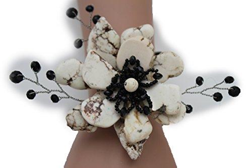 TFJ Women Fashion Jewelry Hand Elastic Metal Cuff Bracelet Big Flower Black Beads Off White Color (Studded Wristband Single)