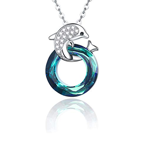- Stocking Stuffers Dolphin Necklace 925 Sterling Silver Ocean Sea Animal Cute Dolphin Jewelry Blue Crystals Circle Pendant Necklace Gifts for Women Girls