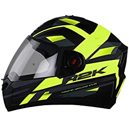 Steelbird SBA-1 R2K Full Face Graphics Helmet in (Medium 580 MM, Matt Black Neon with Clear Visor)