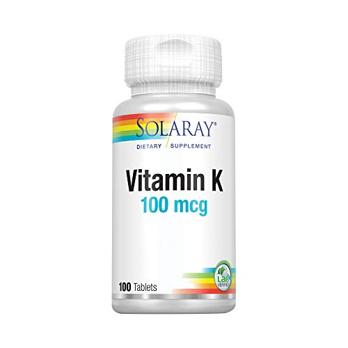 Solaray® Vitamin K-1 100mcg | Healthy Bone Structure, Blood Clotting, Protein Synthesis Support | Non-GMO, Vegan & Lab Verified | 100 Tablets