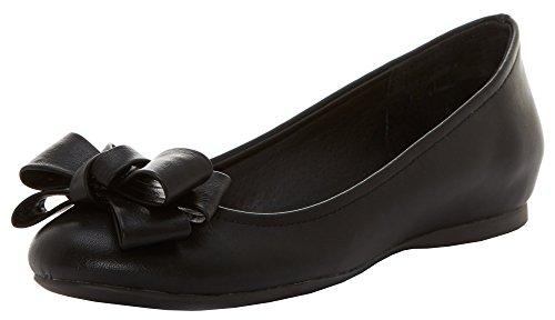 Jessica Simpson Women's Mugara Ballet Flat (8.5 B(M) US, Black Leather) (Black Bow Flat)