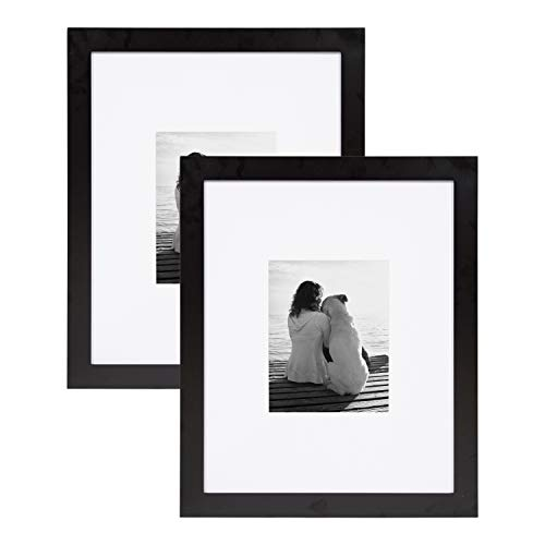DesignOvation Museum Wooden Traditional Picture Frame Set with Mats for Customizable Wall Display, 16×20 matted to 8×10, Black, 2 Pack