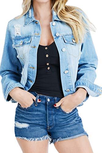- Style One Women's Distressed Denim Jackets 8962 Light Blue L
