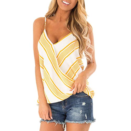 Aunimeifly Women's Sexy Diagonal Stripes Deep V-Neck Camisole Ladies Loose Spaghetti Tank Tops Arc Hem Vest Yellow - Ladies Diagonal Stripes