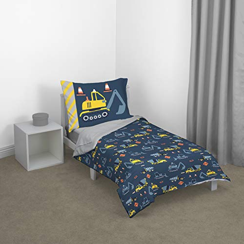 Carter'S Construction Time Toddler Bed Set, Navy, Yellow, Grey, -