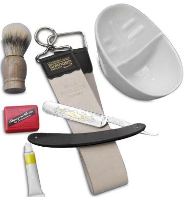 Rasiermesser-Set mit Schleifpasten, Rasierschale, Rasierpinsel Abziehleder aus Solingen