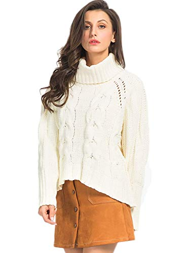 PERSUN Women's White High Neck Chunky Cable Knit Long Sleeve Pullover Sweater,Small