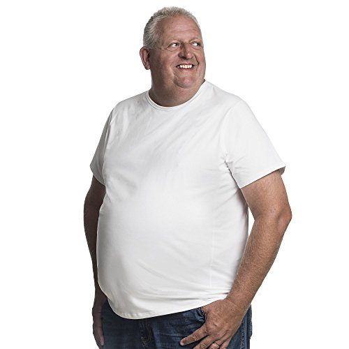 Alca Classic T-Shirt Crew Neckline for a Larger Waist Size. (XX-Large, White)