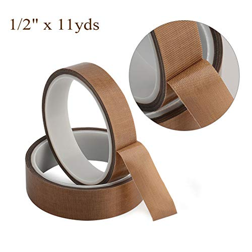 1/2 x 11yds PTFE Adhesive Tape PTFE Coated Fabric Teflon Tape Adhesive Tape High Temperature Teflon Tape for Vacuum, Hand and Impulse Sealers FoodSaver, Seal A Meal, Weston, Cabellas and Many More