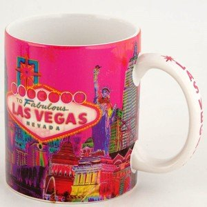 Las Vegas Coffee Mug Solar Pink With Welcome Sign 11oz 37011
