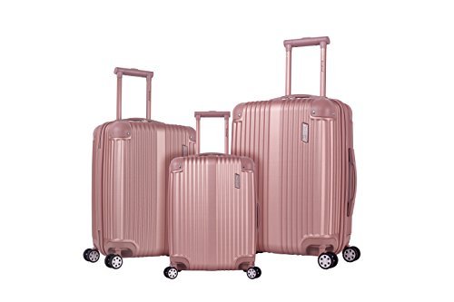 Rockland Hardside Spinner 3-Piece Luggage Set, Champagne / Rose Gold